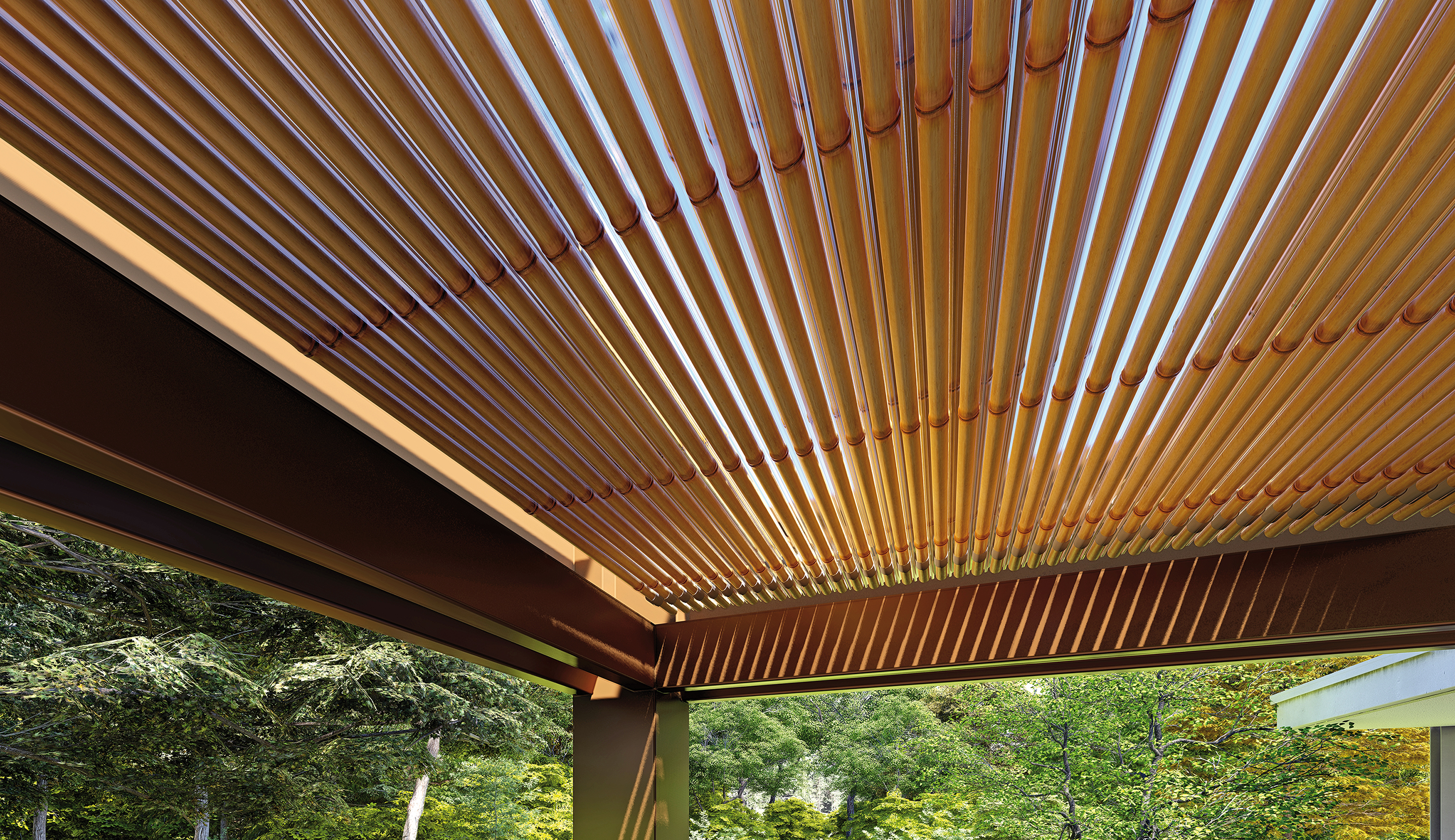 sprech pergola su misura copertura in bamboo